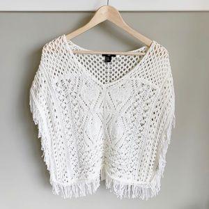 H&M Crochet Ivory Fringe Poncho V Neck Boho